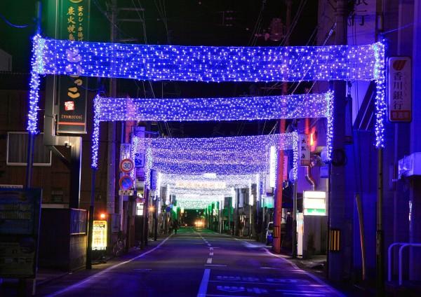 新居浜登道南商店街 光のトンネルイルミネーション