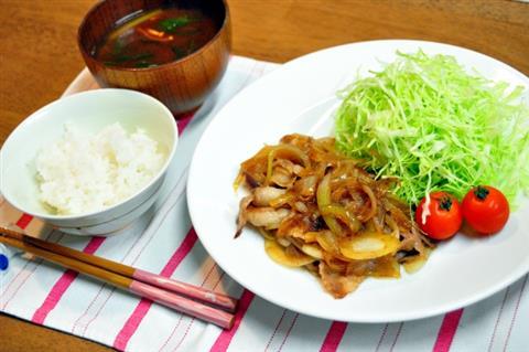 料理講座 今日のランチは美味しい甘とろ豚の生姜焼き定食